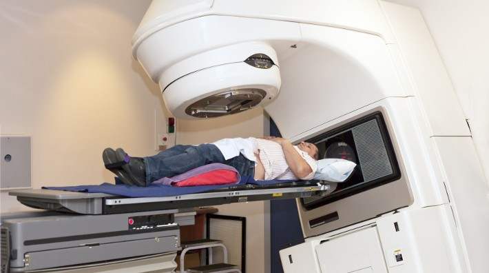 man receiving radiotherapy for prostate cancer