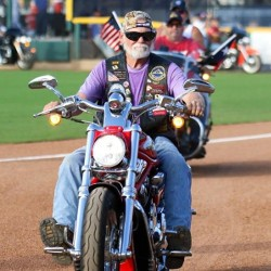 cancer survivor, Ron Dunnahoo on his motorcyle