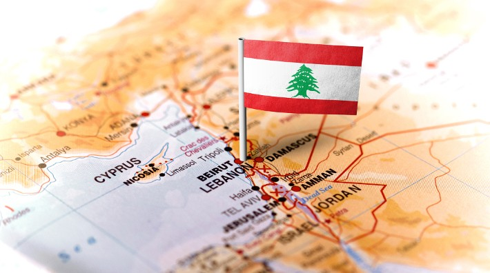 a small flag of Lebanon marks the location of Lebanon on a map