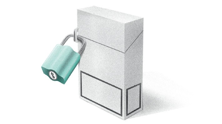 illustration depicting a locked box of cigarettes