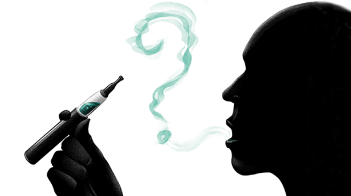 illustration showing the silhouette of a man smoking an e-cigarette and the smoke coming from his mouth forms a big question mark